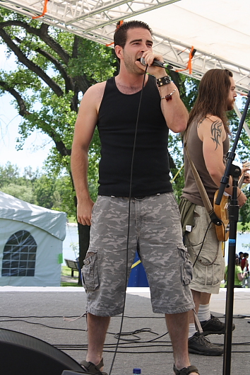 Marc Belisle of Double Jack brought the rock to the  Dragon Boat races, Sunday. Photo by Richard Amery