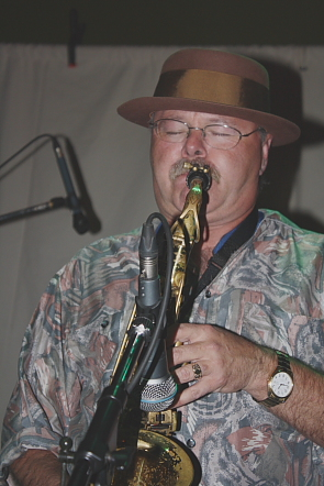 Brent Hutchinson playing sax. Photo by Richard Amery
