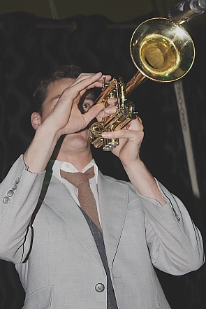 The F-Holes trumpet player Jimmie James McKee at the Slice, Sept. 17. Photo by Richard Amery