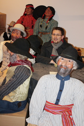 David Gabert sits among  Fort Whoop-Up's mannequins waiting to be  put back in the displays. Photo by Richard Amery