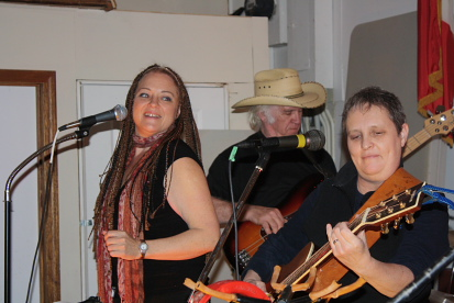 Sheena Lawson, Tracy Edgar and Toni Vere playing a Moose fundraiser at the Moose Hall, April 6. Photo by Richard Amery