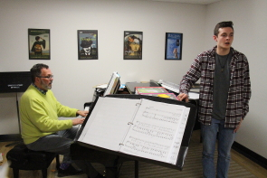 Dave Shefsiek  accompanies Kaden Pratt during rehearsals for the Lethbridge and District Music and speech arts Festival. Photo by Richard Amery