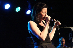 Alison Hawkins singing with Uncovered, April 27 at Average Joes. photo by Richard Amery