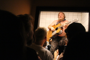 B.A. Johnston finishing his show in the bathroom at the Owl, June 19. photo by Richard Amery