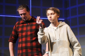 Joe Eppert and Damian Currie rehearse for Chinook High School's production of The Curious Incident of the Dog in the Night-time, Dec. 12-15. Photo by Richard Amery