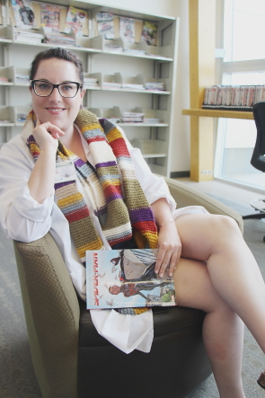 Paige McGeorge is dressed as Dr. Osgoode from Dr. Who For Comicon at the Chinook Crossings Branch, June 10.Photo by Richard Amery