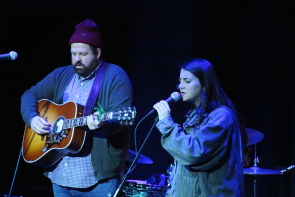 Donovan Woods brings Katie Pruitt up on stage for an encore, march 24 at the Sterendale Bennett Theatre. Photo by Richard Amery