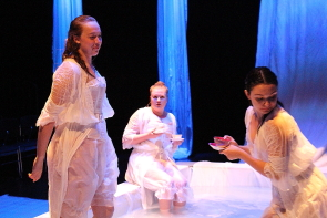 Shea Heatherington, Maddie Taylor Gregg and Shelby Wilson rehearse a scene from the Drowning Girls, running in the Sterndale Bennett Theatre, Oct. 18-22. photos by Richard Amery