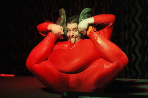 """Fatt"" Matt Alaeddine does some impressive contortion at the WTF Variety show at the Slice, Dec. 20. Photo by Richard Amery"