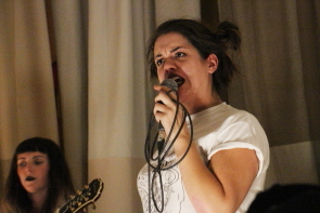 The Shiverettes' Hayley Muir playing the Owl Acoustic Lounge for Flipfest. Photo by Richard Amery