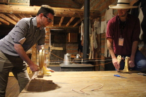 Fort Whoop Up interpreter Keiran Swayn and Graham Ruttan give a rope making demonstration at Fort Whoop Up. Photo by Richard Amery
