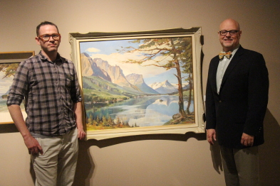 "Graham Ruttan and new CEO Darrin Martens with "" A Painters paradise."" Photo by Richard Amery"