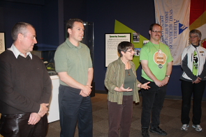 Wendy Aitkens introduces some of the people featured in the Galt's latest exhibit. Photo by Richard Amery