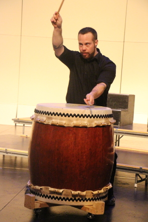 Global Drums member  Marc Vantoly plays a Japanese Taiko drum. Photo by Richard Amery