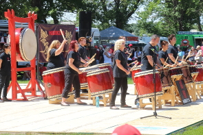 The Hibikaya Drummers at Canada Day in Henderson lake. Photo by Richard Amery