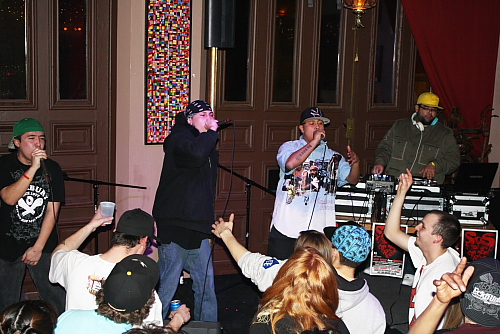 Local rappers helped raise money for Haiti, Feb. 19. Photo by Richard Amery