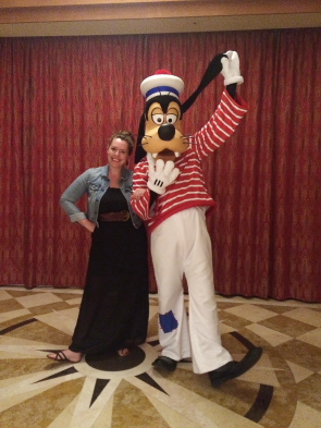 Jocelyn Brayne and Goofy aboard the Disney Dream. photo Submitted.