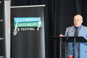 Don Robb announces the line-up for the 2018 Lethbridge Jazz and Blues Festival. Photo by Richard Amery