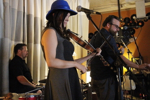 Megan Brown and Gabe Thaine playing the LGRC Band Swap, June 8. Photo by Richard Amery