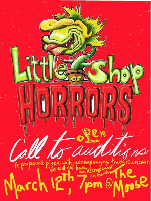 Auditions for Little Shop of Horrors are 7-9 p.m. on March 12.