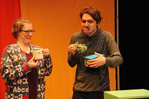 Kelly Malcom and Ryan Reese rehearse for New West Theatre's production of Luke's Lukebox. Photo by Richard Amery