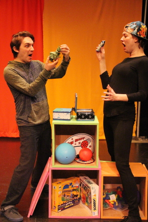 Camille Pavlenko  and Ryan Reese rehearse a scene from New West Theatre's production of Luke's Lunchbox, running in the Sterndale Bennett Theatre, Dec. 26- Jan. 7. Photo by Richard Amery