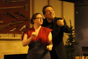 Madge (Kaitlin Goodliffe) and Felix (Vittorio Oliverio) ham it up in The Game's Afoot which runs Nov. 30-Dec. 3 at the Nord Bridge Senior's Centre. Photo by Richard Amery