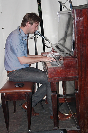 Matthew Barber took a spin on the Slice piano, April 12. Photo by 