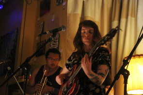 Megan Nash performing with Bears in hazenmore at the Owl in June. Photo by Richard Amery
