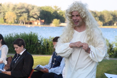 Cole Fetting  performs in Shakespeare in the Park's Merry Wives of Windsor. Photo by Richard Amery