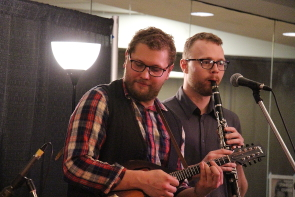 The Misery Mountain Boys mandolinist Dom Golec and clarinetist Sam Tom play the Lethbridge College Cave for the Lethbridge Folk Club, March 4. Photo by Richard Amery