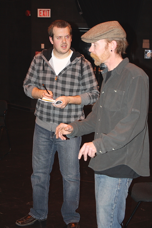 Justin Masson (Sgt. Trotter) and Jeff Graham (Paravicini) rehearse for the Mousetrap. Photo by Richard Amery