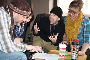 Scott Carpenter, Erica Hunt, Jay Whitehead and Jocelyn Haub crack each other up writing comedy. Photo by Richard Amery