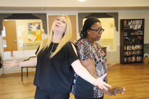 Christina Peterson and Jan Jelli rehearse for  Nunsense 2. Photo by Richard Amery