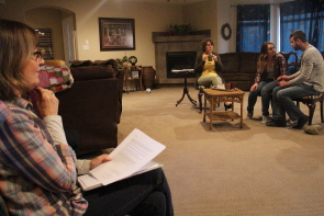 Director Rita Peterson oversees Donna  and Robyn Kalau and Cole Fetting rehearse Clarity for the One Act Play Festival. Photo by Richard Amery