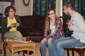 Donna  and Robyn Kalau and Cole Fetting rehearse Clarity for the One Act Play Festival. Photo by Richard Amery