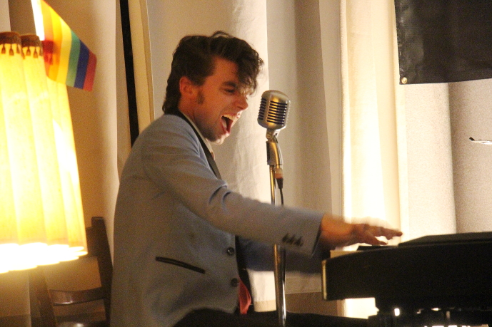 Peter Cormier of Peter and the Wolves plays some hot piano at the Owl Acoustic Lounge, July 7. Photo by Richard Amery