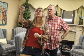Jocelyn Steinborn and Rob Berezay rehearse a scene from Beyond A Joke running Feb. 6-10 at the Italian Canadian Club. Photo by Richard Amery