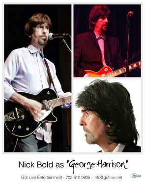 Nick Bold plays George Harrison in the Reunion Beatles. Photo submitted