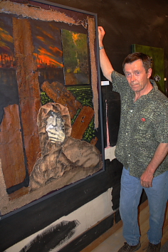 L.A. Beat Photo by Richard Amery  Rick Gillis shows one of his works.