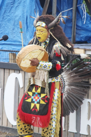 Blackfoot Medicine Speaks opening South Country Fair, Saturday, July 20. Photo by Richard Amery