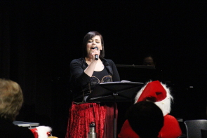 Stephanie Savage sings during Shakespeare meets Dickens, Dec.12. Photo by Richard Amery