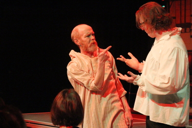 Jeff Graham and Keith Miller revisit  MacBeth's Porter's scene during Shakespeare Meets Dickens. Photo by Richard Amery