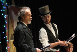 Bryson Brown and Austin Halarewich read Charles Dickens' A Christmas Carol. Photo by Richard Amery