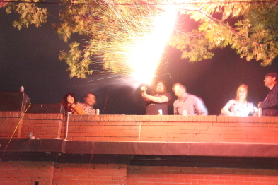 Slice patrons send off fireworks aftert the last wake of the Slice. Phot by Richard Amery