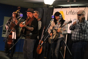 The Spitzee Post Band playing the Lethbridge Folk Club, March 17. Photo by Richard Amery