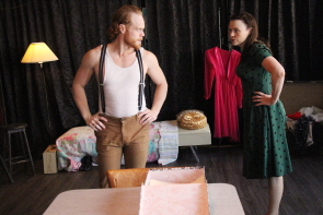 Erica Hunt and Nick Bohle rehearse a scene from A Streetcar named Desire. Photo by Richard Amery