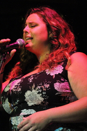 Victoria Madge singing at her farewell party at the Slice, Aug. 3. photo by Richard Amery
