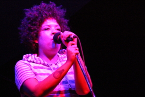 Weaves' Jasmyn Burke playing CKXU's Love and Records last year. Photo by Richard Amery